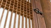 Japanese architecture. lock on the door