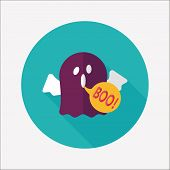 Ghost Flat Icon With Long Shadow,eps10