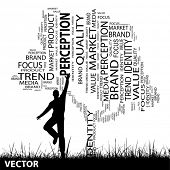 Vector concept or conceptual black media tree and grass word cloud, a man jumping on white background