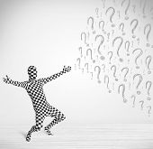 3d human character is body suit morphsuit looking at hand drawn question marks