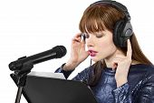 picture of singing  - woman singing or reading a script for voice over - JPG