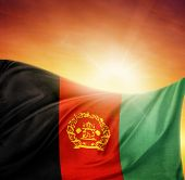 Afghanistan flag in front of bright sky