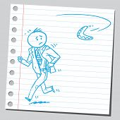 picture of boomerang  - Businessman running from boomerang - JPG