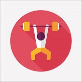 image of weight lifter  - Weightlifting Flat Icon With Long Shadow - JPG