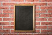 Chalk board on a brick wall