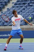 Seventeen times Grand Slam champion Roger Federer practices for US Open 2014