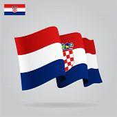Flat and waving Croatian Flag. Vector