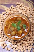 Indian Spicy Chana Masala With Raw Chickpeas, Cardamom On Top