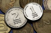 Coins of Israel. Israeli one and two new shekels coins.