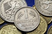 Coins of Germany. Old Deutsche Mark coins.