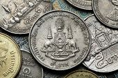 Coins of Thailand. The Royal Golden Jubilee Emblem depicted in the old Thai baht coins.