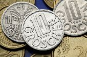 Coins of Austria. Old Austrian 10 Groschen coins.