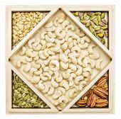 cashew and other nuts (pecan,  almond, pine, pistachio, peanut) in a geometrical wood tray