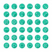 Vector thin icons set for web and mobile. Line simple arrows. Design elements  with long shadow effe