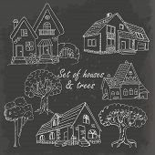 Set Of Houses And Trees On Black. Vector Illustration