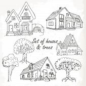 Set Of Houses And Trees. Vector Illustration