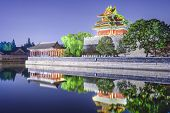 Forbidden City Outer Moat in Beijing, China at night.