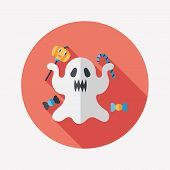 Ghost Flat Icon With Long Shadow