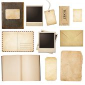 Old mail, paper, book, photo frames, stamp isolated collection