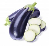 Whole Aubergines And Slices Isolated For Square Composition