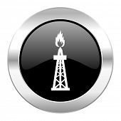 gas black circle glossy chrome icon isolated