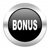 bonus black circle glossy chrome icon isolated