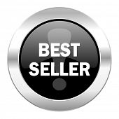 best seller black circle glossy chrome icon isolated