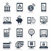 Mobile banking icons black