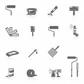 foto of spray can  - Painting icons black set with color can bucket brush spray isolated vector illustration - JPG