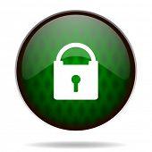 padlock green internet icon