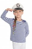 Girl dressed as a sailor boy raised his right hand in greeting.