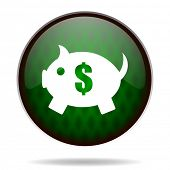 piggy bank green internet icon