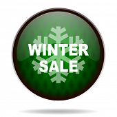 winter sale green internet icon