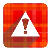 exclamation sign red flat icon isolated