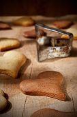 Homemade heart-shaped cookies