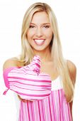 Blonde woman in a kitchen apron