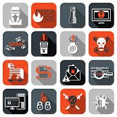 Hacker icons set flat