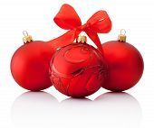 Three Red Decorations Christmas Ball With Ribbon Bow Isolated On White Background