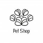 Original pet shop logo with pet paw