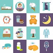 image of flat-bed  - Sleep time icons flat set with bed alarm clock mask isolated vector illustration - JPG