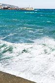 Waves Near Waterfront In Yalta, Crimea