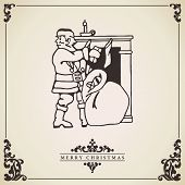 Santa Claus Vintage Christmas Card. Vector.