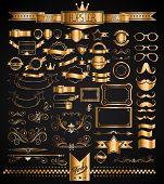 David Sandonato Mega Set of Golden Vintage Labels for your Hipster designs.Labels, ribbons, mustache, frames, glasses, dividers and so on