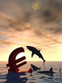 High resolution conceptual bloody euro symbol or sign sinking in water or sea, with black sharks eating at sunset background
