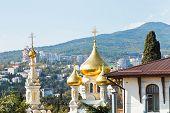 Alexander Nevski Cathedral And Yalta City Skyline