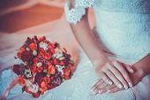 beautiful bouquet with the bride's hands