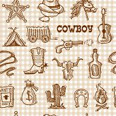 pic of horseshoe  - Wild west cowboy seamless pattern on squared background with hat horseshoe sheriff badge vector illustration - JPG