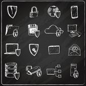 Data protection chalkboard icons