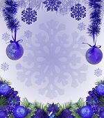 frame from blue christmas tree decorations on light background