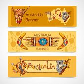 picture of aborigines  - Australia native aboriginal tribal ethnic colored sketch horizontal banner set isolated vector illustration - JPG